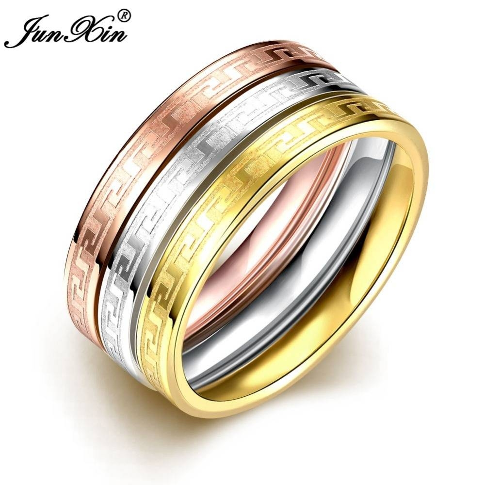 Aliexpress : Buy Junxin 3Pcs Male Female Gold Stainless Steel Intended For Male And Female Matching Engagement Rings (View 1 of 15)