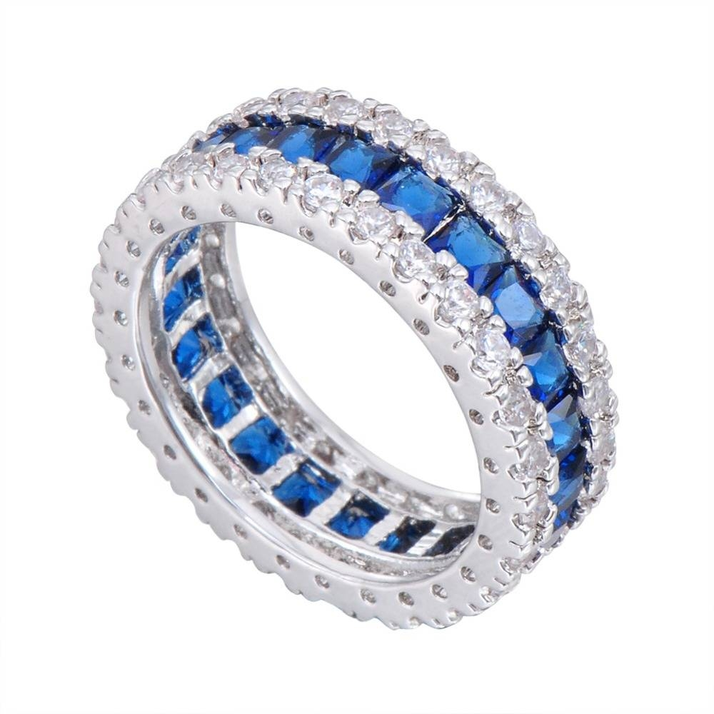 Aliexpress : Buy Junxin Fashion Men Women Blue Ring White Gold Regarding Blue Line Engagement Rings (View 1 of 15)