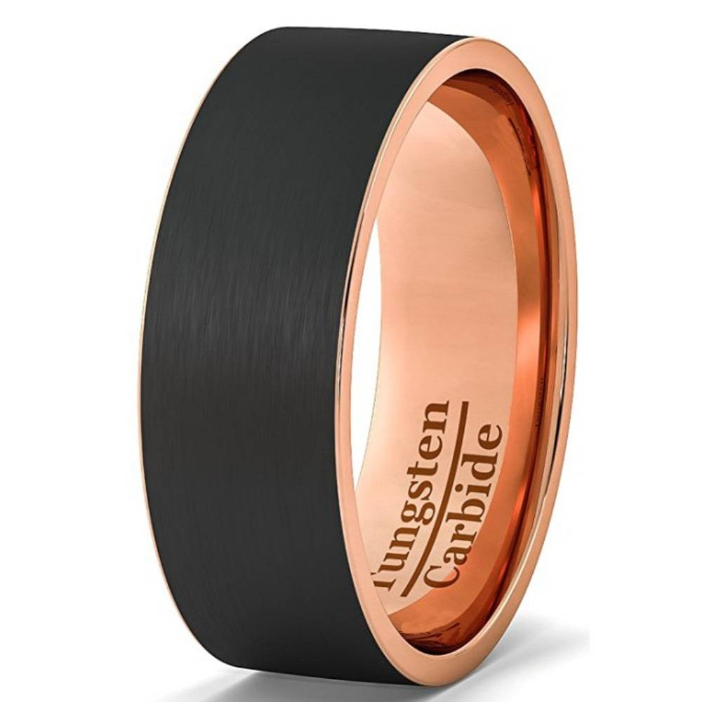 Aliexpress : Buy Mens Wedding Band Black Rose Gold Color Cool For Tungsten And Rose Gold Wedding Bands (View 3 of 15)