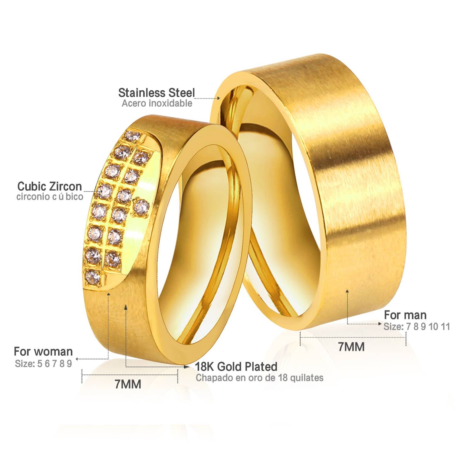 Aliexpress : Buy New Gold Color Couple Wedding Rings Stainless Throughout Pair Wedding Rings (View 2 of 15)