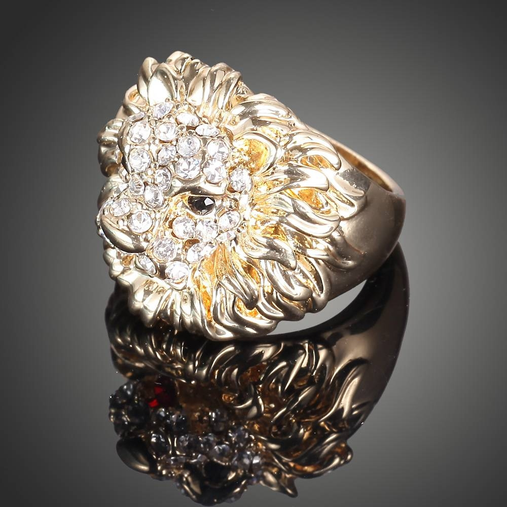 Aliexpress : Buy New Lion Head Plating Gold Ring Crystal Rings In Lion Engagement Rings (View 3 of 15)