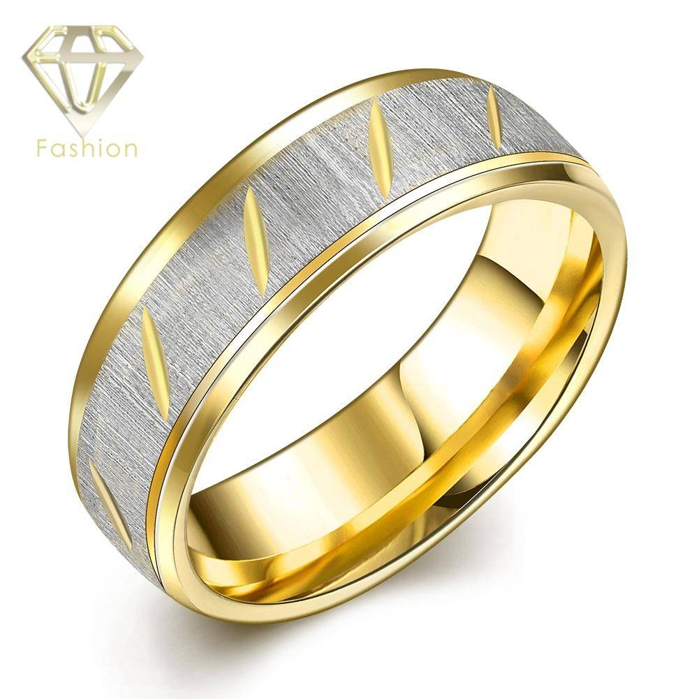 Aliexpress : Buy Plated Gold Engagement Ring Male Style 316L Within Gold Male Engagement Rings (View 3 of 15)