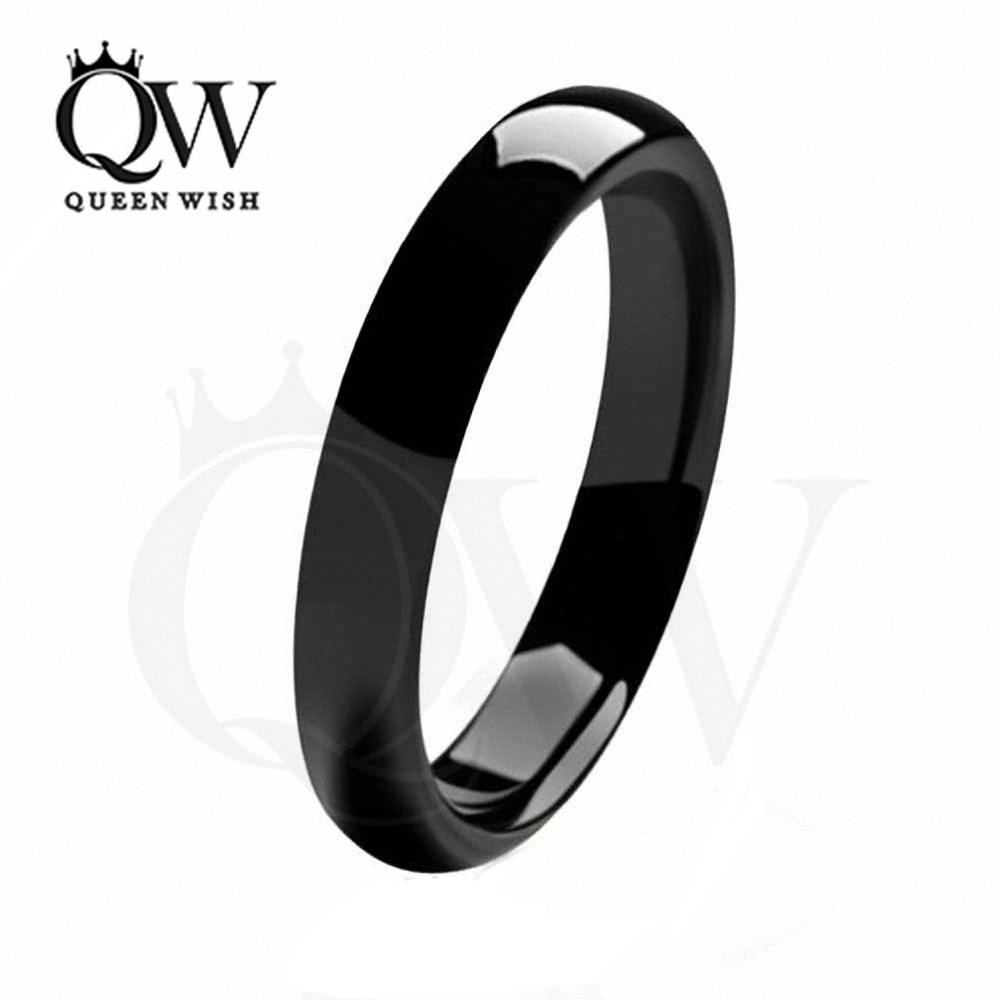 Aliexpress : Buy Queenwish 4Mm Polish Black Dome Tungsten With Regard To Women Tungsten Wedding Bands (View 2 of 15)
