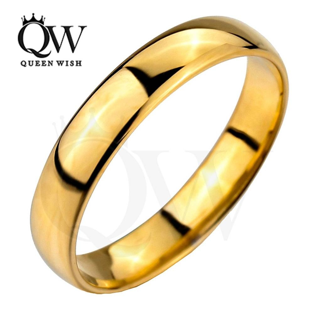Aliexpress : Buy Queenwish 5Mm Simply Classic Gold Tungsten Intended For Classic Gold Wedding Rings (View 3 of 15)