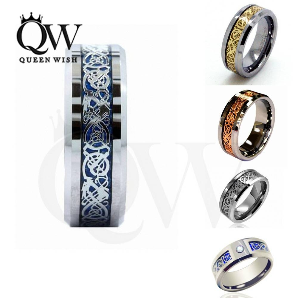 Aliexpress : Buy Queenwish 6/8mm Celtic Dragon Tungsten Regarding Irish Engagement Ring Sets (View 15 of 15)