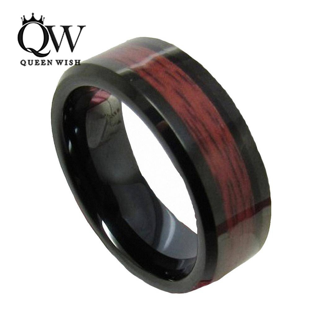 Aliexpress : Buy Queenwish 8Mm Black Slivering Tungsten Within Tungsten Wedding Bands With Wood Inlay (View 2 of 15)