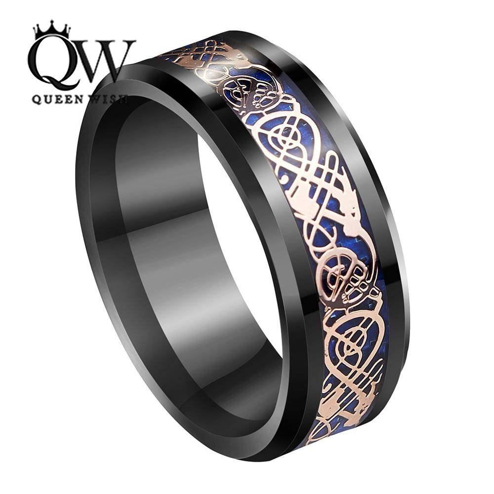 Aliexpress : Buy Queenwish 8Mm Black Tungsten Ring Rose Gold With Mens Celtic Wedding Rings (View 2 of 15)