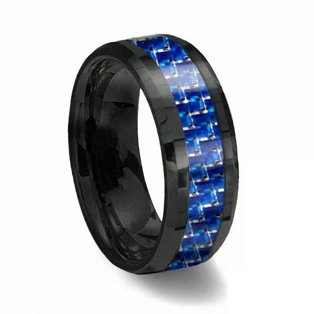Aliexpress : Buy Queenwish 8Mm Black Tungsten Ring With Thin With Regard To Blue Line Wedding Bands (Gallery 7 of 15)