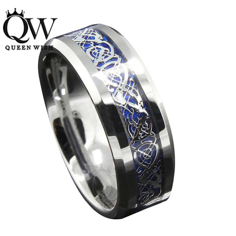 Aliexpress : Buy Queenwish 8Mm Blue Silvering Celtic Dragon Regarding Mens Irish Wedding Rings (View 11 of 15)