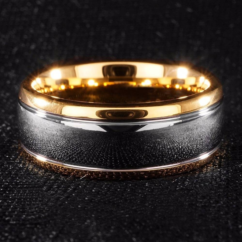 Aliexpress : Buy Queenwish 8Mm Dome Gold/ Black Mens Tungsten Pertaining To Gunmetal Wedding Bands (View 3 of 15)