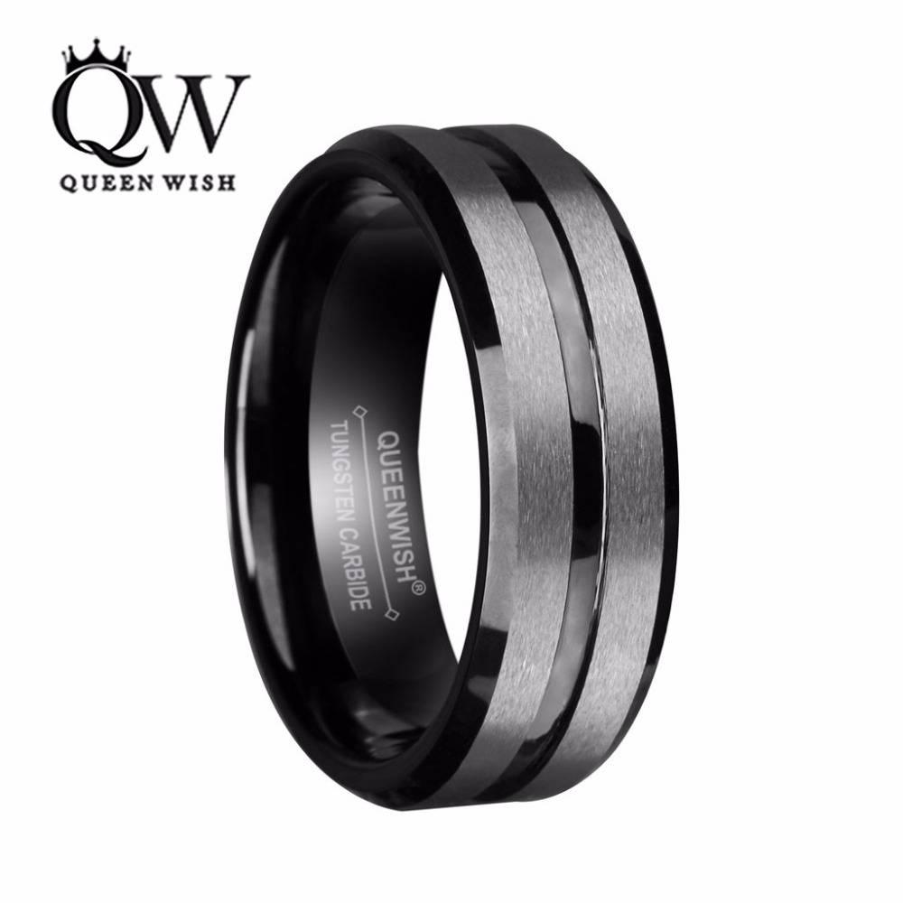 Aliexpress : Buy Queenwish 8Mm Mens Tungsten Wedding Bands With Regard To Matte Black Wedding Bands (View 2 of 15)