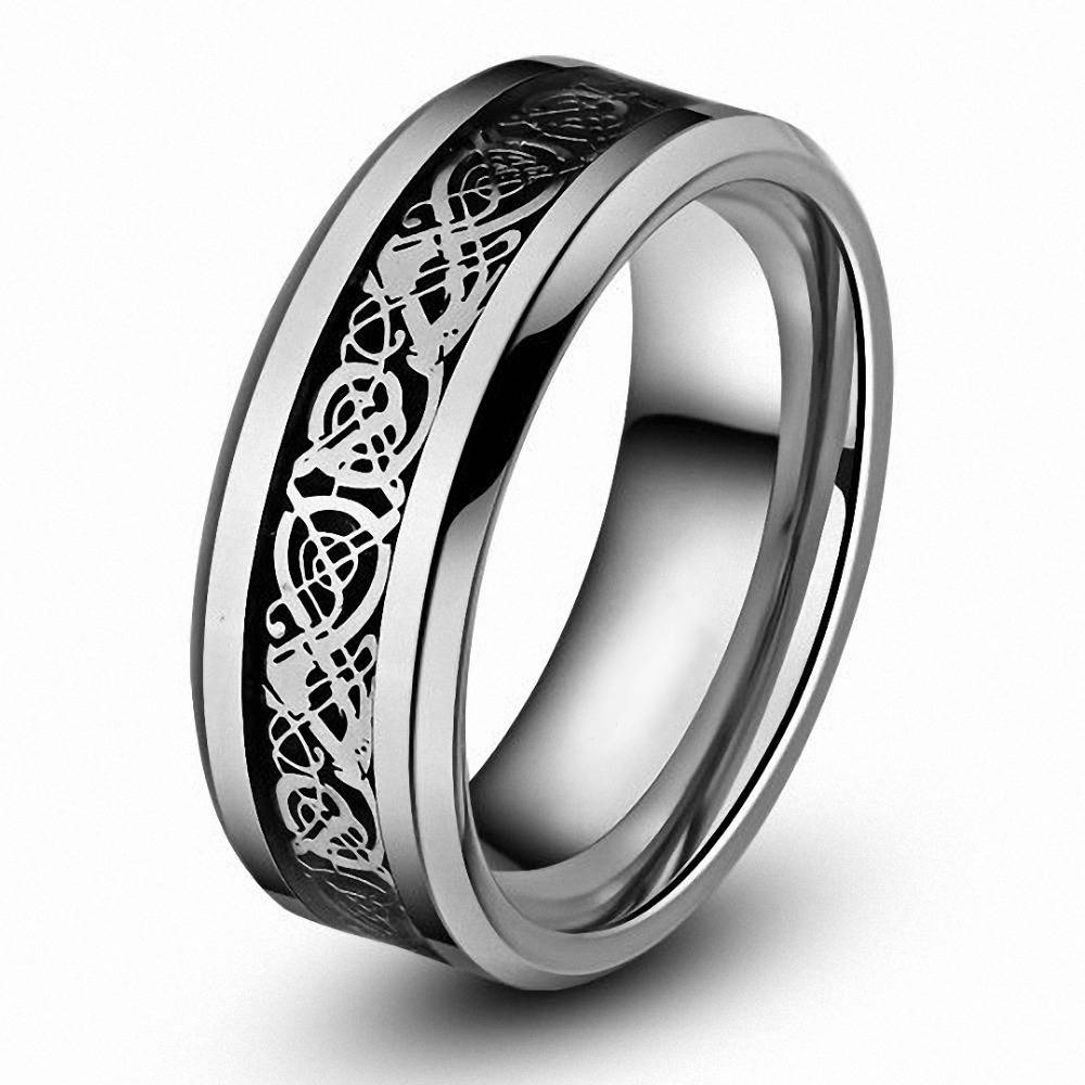 Aliexpress : Buy Queenwish Eternity Unique Wedding Bands With Black And Silver Mens Wedding Rings (View 1 of 15)
