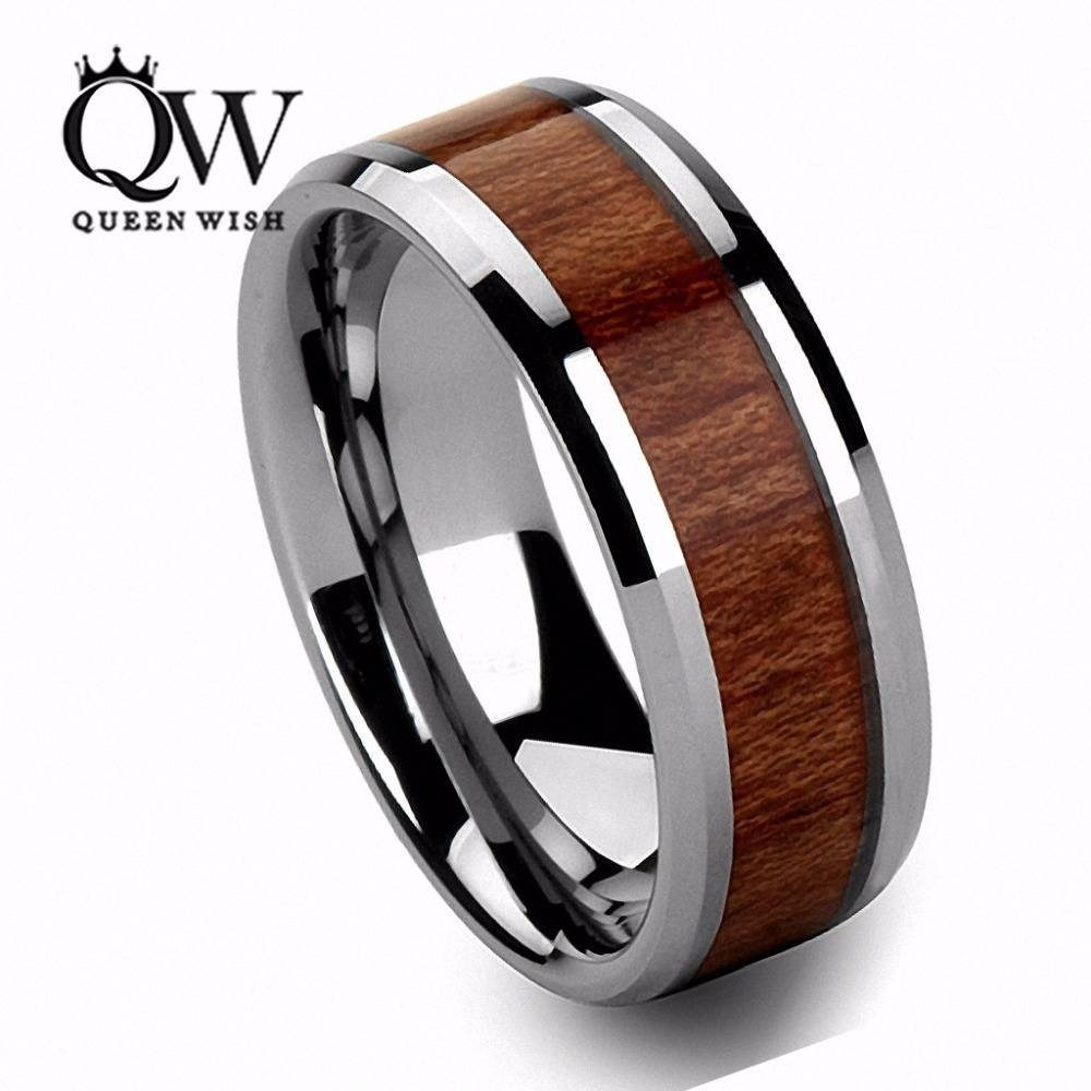 Aliexpress : Buy Queenwish Mens Wedding Bands 8mm Vintage With Men's Wedding Bands Wood Inlay (View 13 of 15)