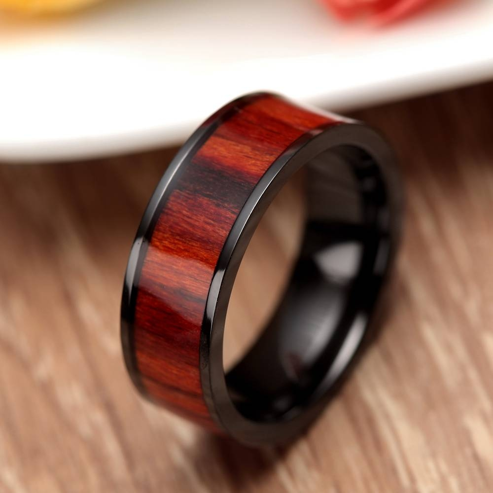 Aliexpress : Buy Retro 8Mm Red Wood Ring Black Titanium Inside Men's Black And Red Wedding Bands (View 4 of 15)