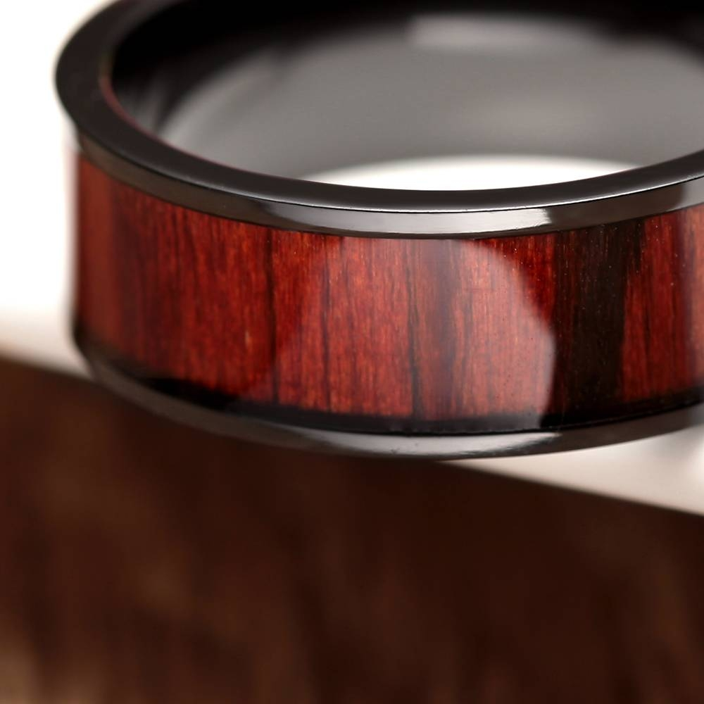 Aliexpress : Buy Retro 8mm Red Wood Ring Black Titanium Within Men's Black And Red Wedding Bands (View 13 of 15)