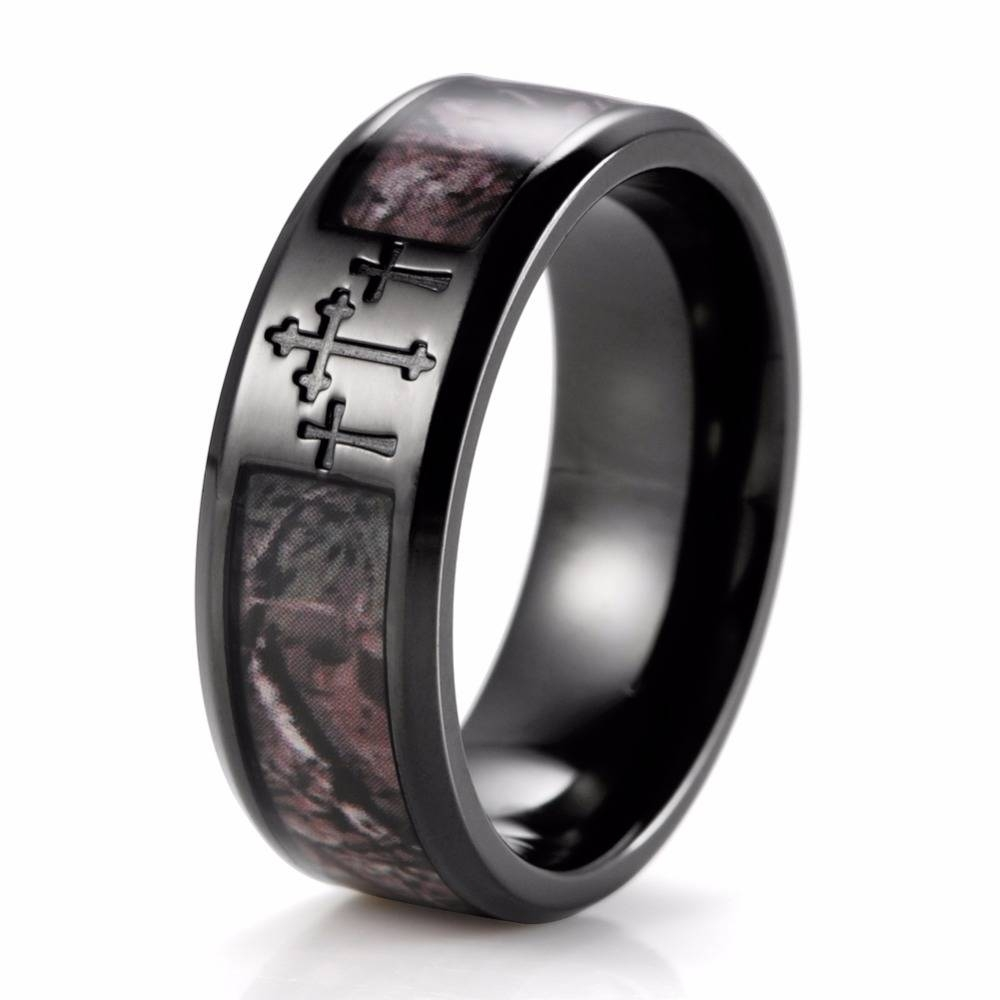 Aliexpress : Buy Shardon Men's Black Three Cross Camo Ring Within Titanium Camo Wedding Rings (View 1 of 15)