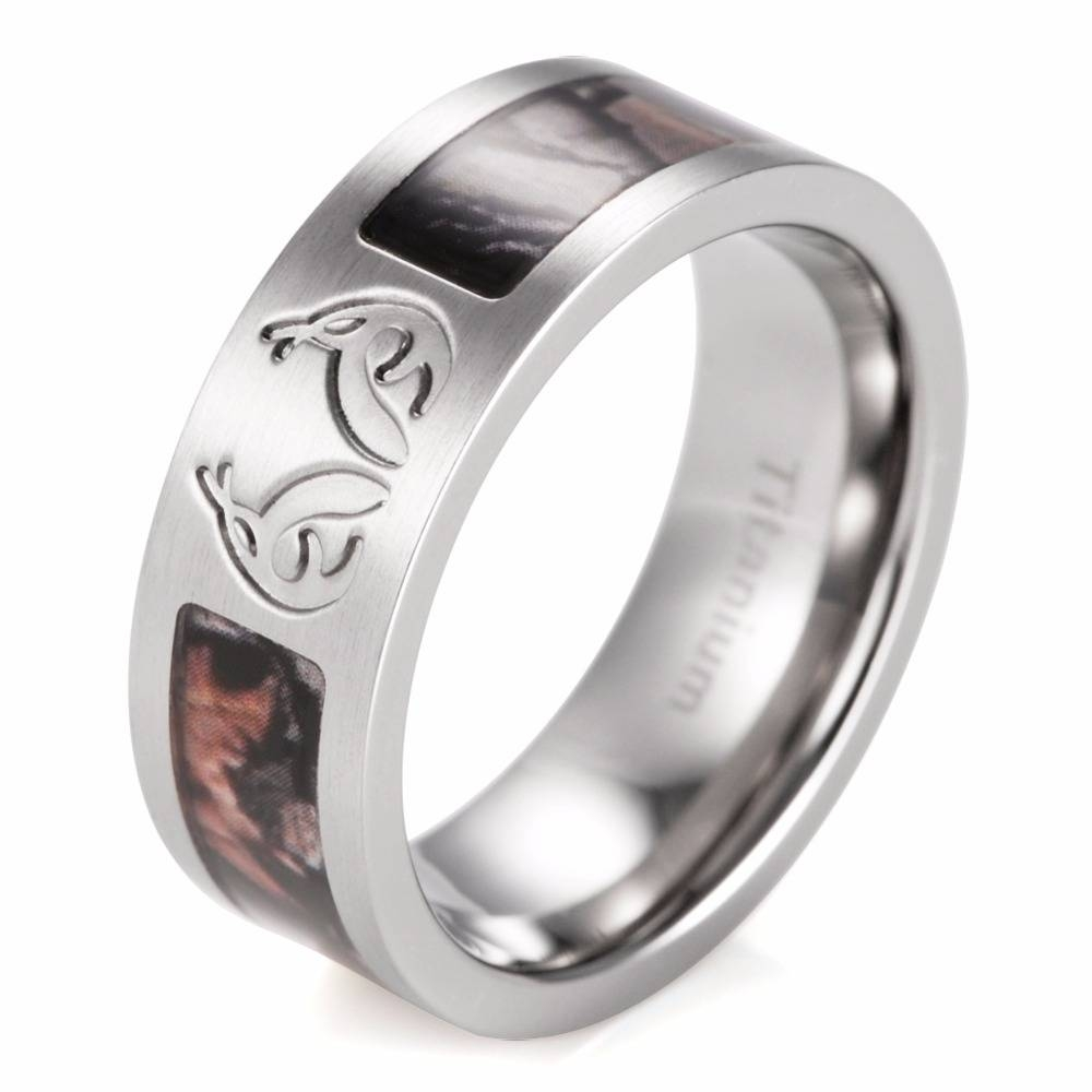 Aliexpress : Buy Shardon Men's Real Tree Carved Antler Camo With Regard To Men's Hunting Wedding Bands (View 1 of 15)