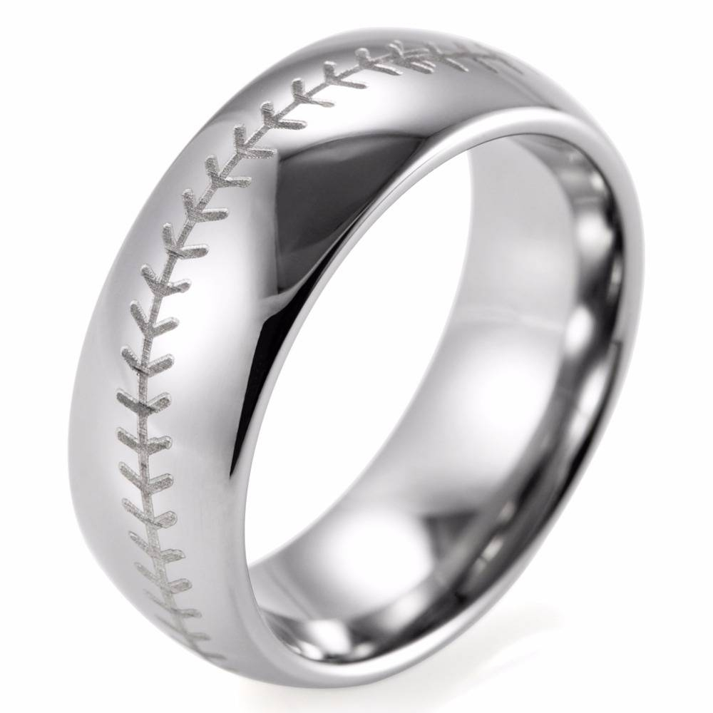 Aliexpress : Buy Shardon Mens Ring 8mm Dome Tungsten Carbide Intended For Mens Baseball Wedding Bands (View 8 of 15)
