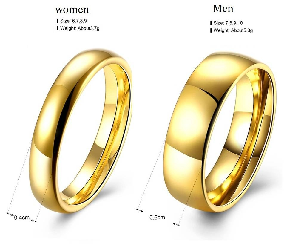 Aliexpress : Buy Simple Couple Wedding Rings Pair Gold Color With Regard To Pair Wedding Rings (View 3 of 15)