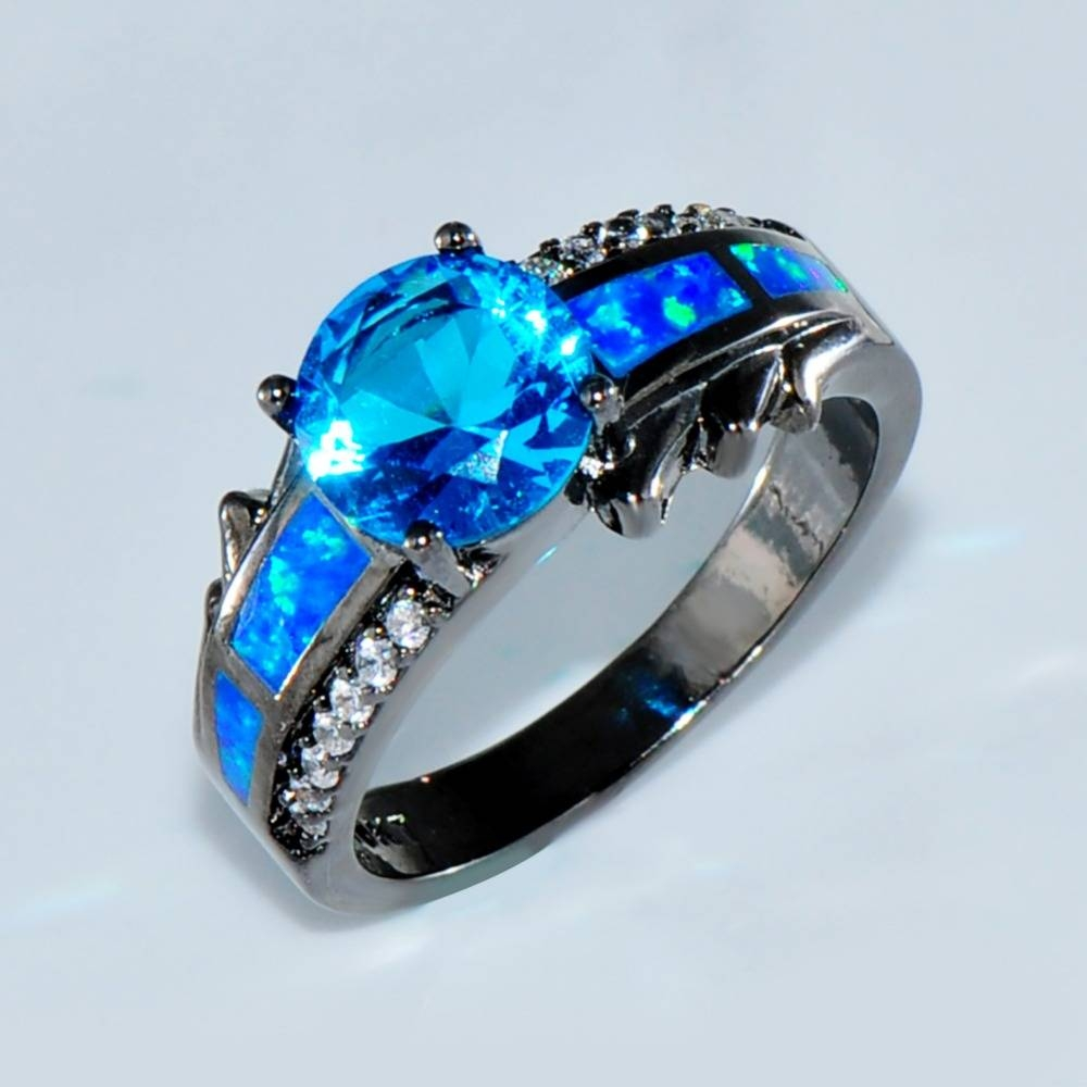 Aliexpress : Buy Size 6/7/8/9 Women 10Kt Black Gold Filled For Blue Opal Wedding Rings (Gallery 1 of 15)