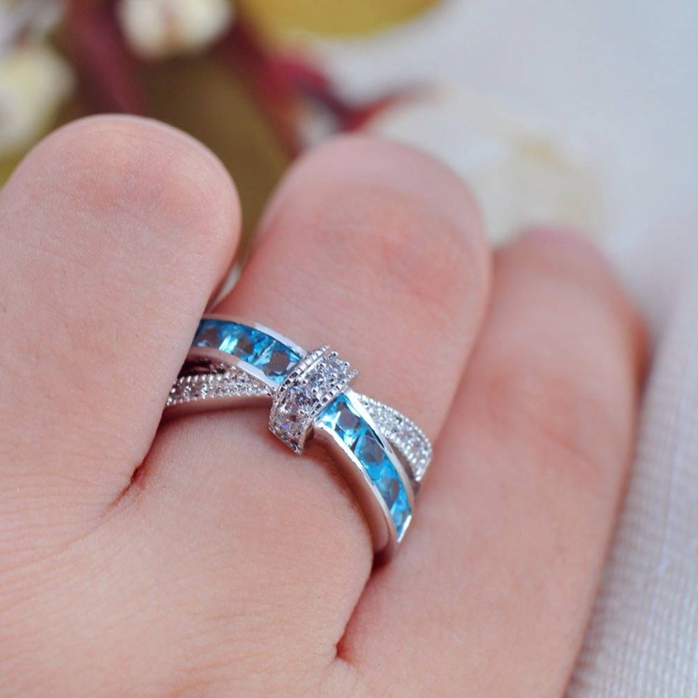 Aliexpress : Buy Top Quality Light Blue Female Ring White Gold With Light Pink Wedding Rings (View 13 of 15)