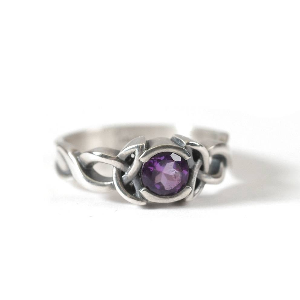 Amethyst Engagement Ring Sterling Silver Celtic Knot Ring In Sterling Silver Celtic Engagement Rings (View 1 of 15)