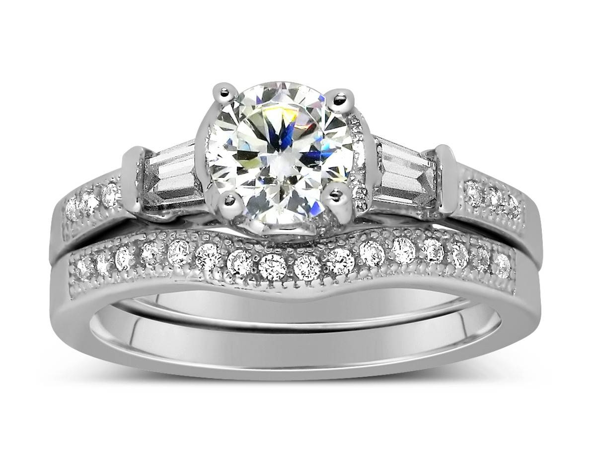 Antique 1 Carat Round Diamond Wedding Ring Set For Her In White With Diamond Engagement Rings Under  (View 2 of 15)