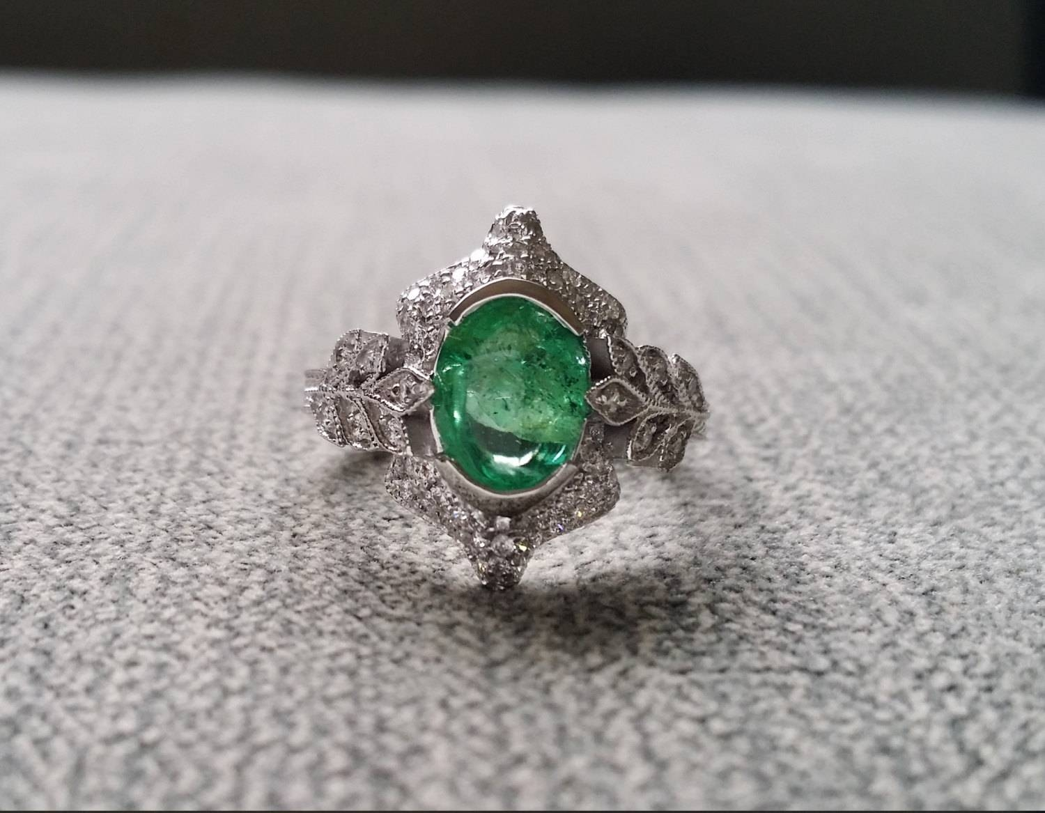 Antique Emerald Diamond Ring Gemstone Engagement Ring Green Intended For Elven Engagement Rings (View 2 of 15)