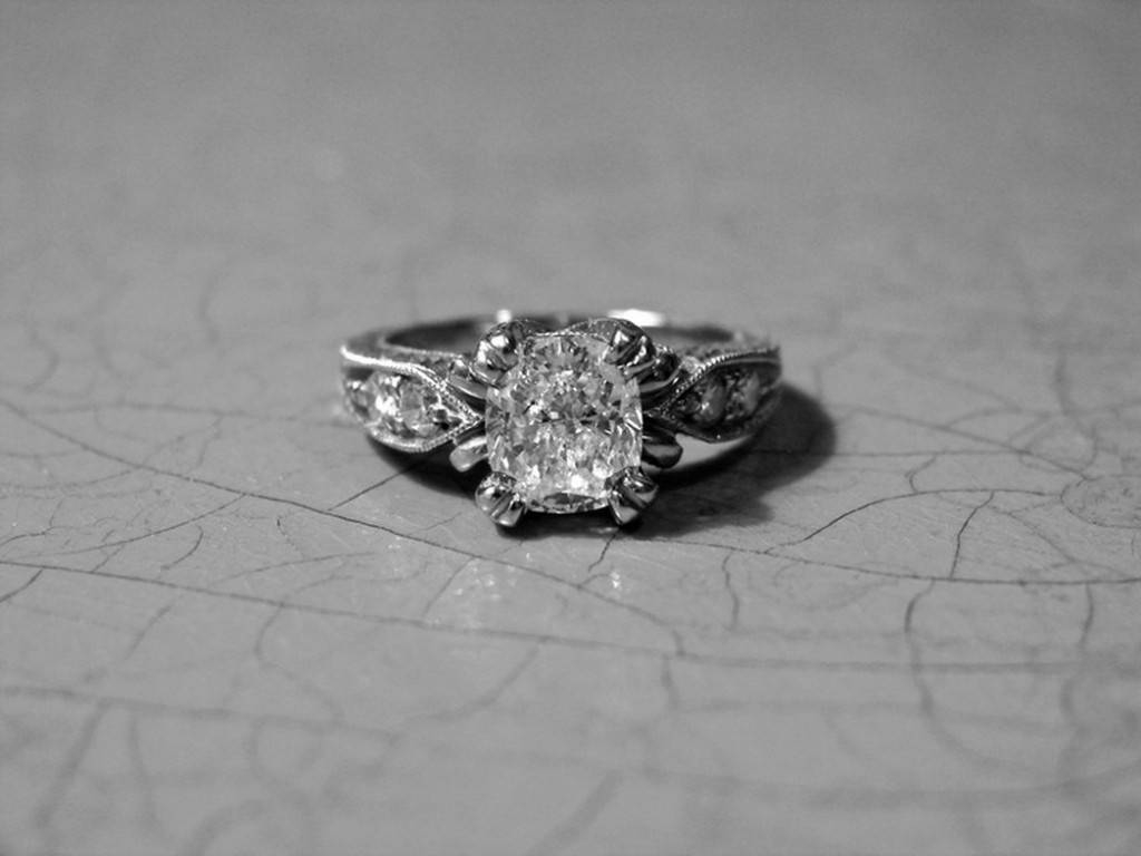 Antique Engagement Ring Cushion Cut Edwardian Tying The Knot | Jl With Tie The Knot Engagement Rings (View 3 of 15)