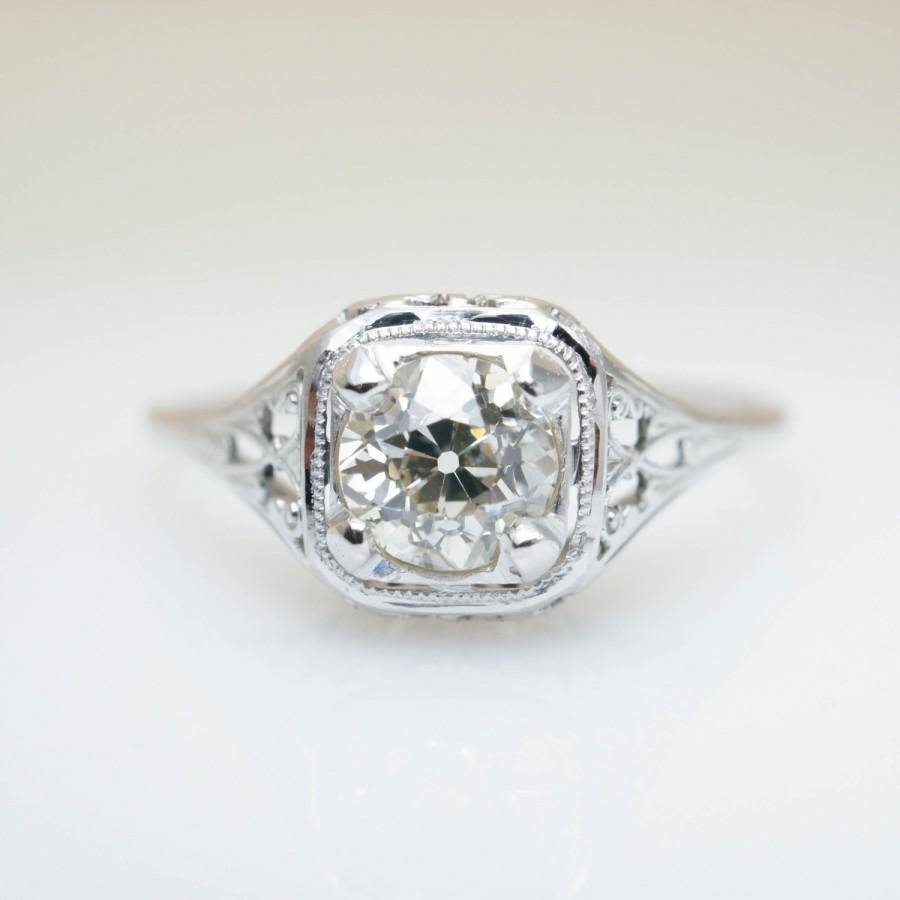 Antique Engagement Ring Edwardian Engagement Unique Diamond With Intricate Engagement Rings (View 5 of 15)