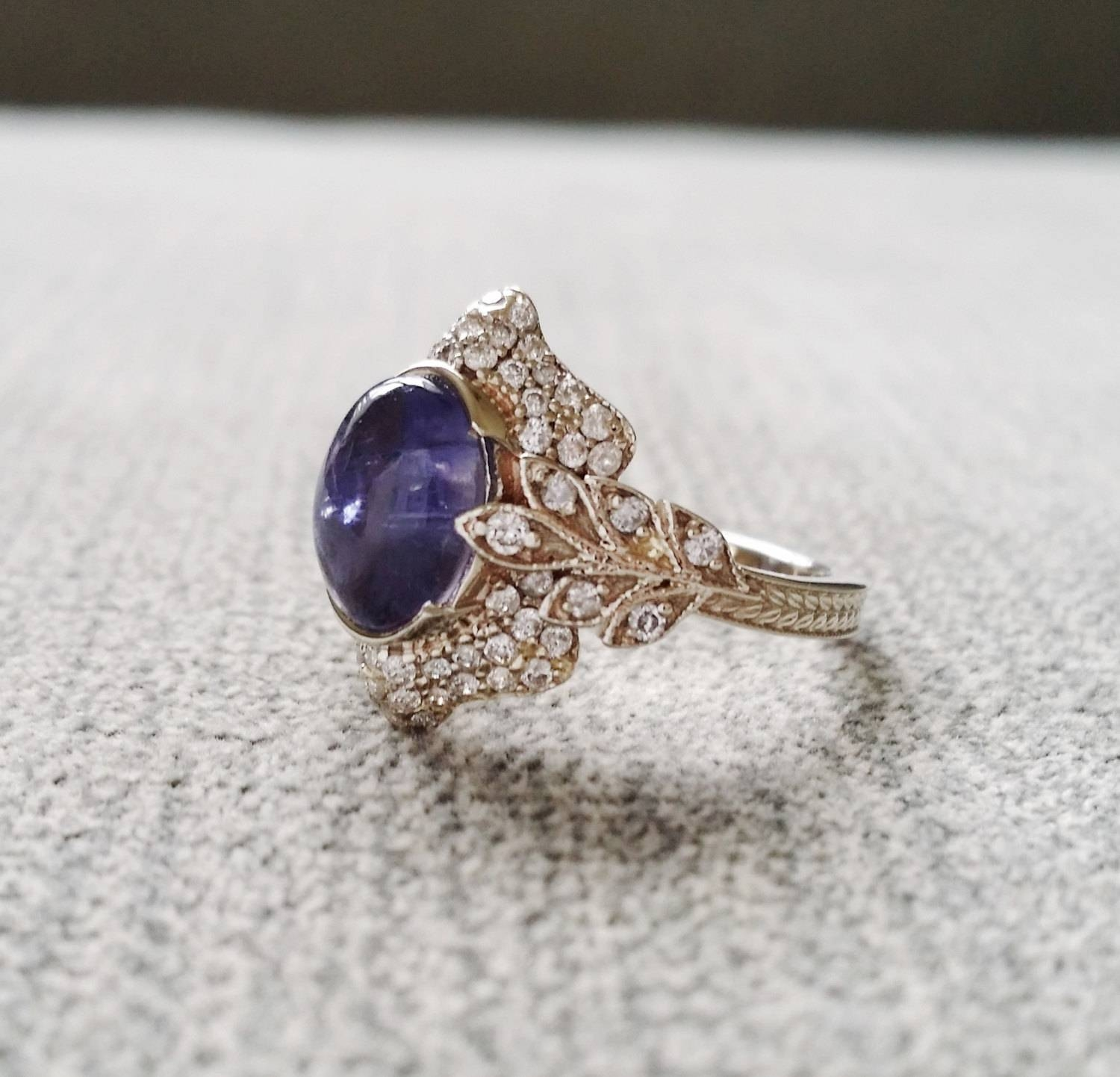 Antique Iolite Diamond Ring Gemstone Engagement Ring Violet Pertaining To Viking Engagement Rings (Gallery 7 of 15)