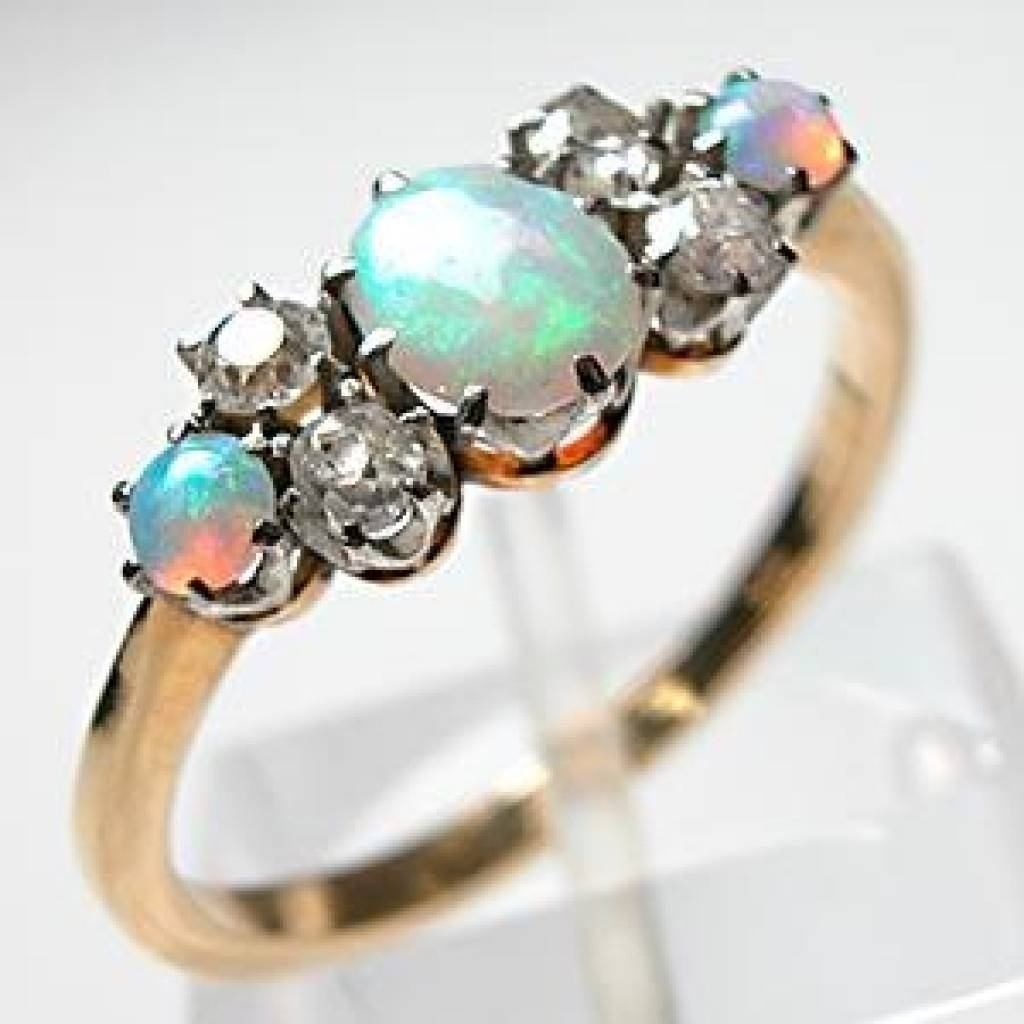 Antique Opal Diamond Ring – Themes Wedding Within Opal Wedding Rings (Gallery 14 of 15)