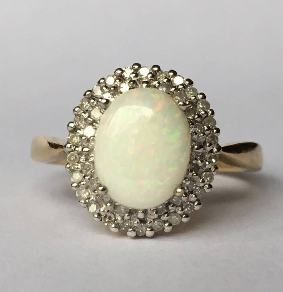 Antique Opal Engagement Ring. Diamond Halo Ring. 9K Gold (View 2 of 15)