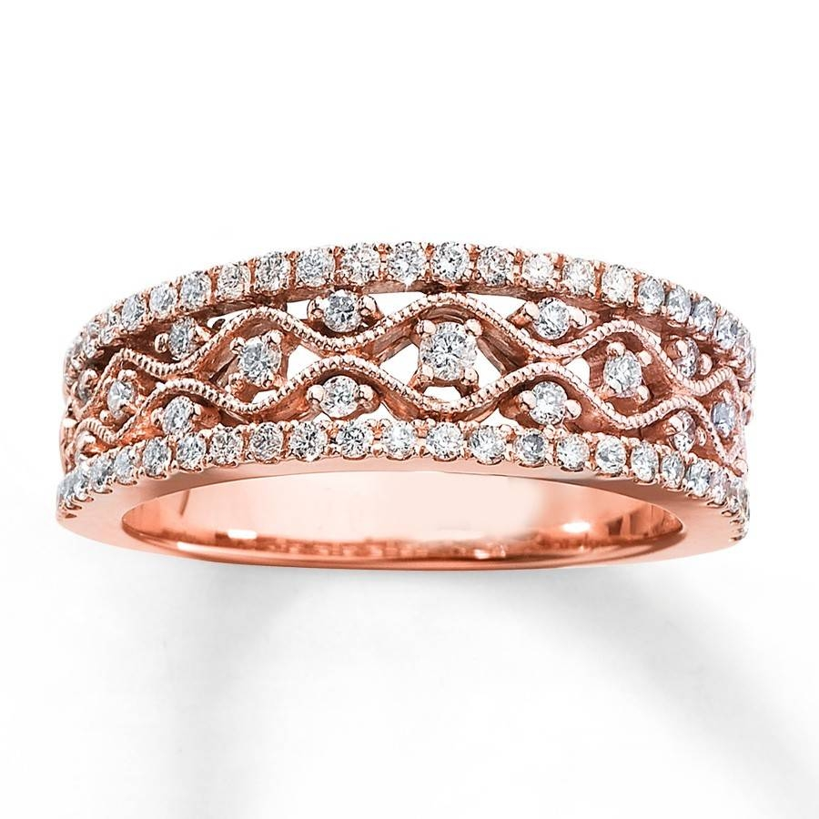 Antique Round Diamond Wedding Ring Band In Rose Gold – Jeenjewels In Gold Rose Wedding Rings (Gallery 8 of 15)