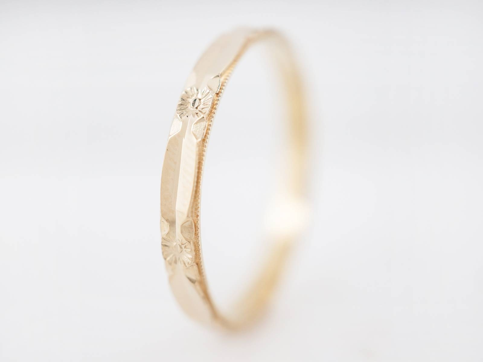 Antique Wedding Band Art Deco Orange Blossom In 14K Yellow Gold Regarding Orange Blossom Wedding Bands (View 8 of 15)