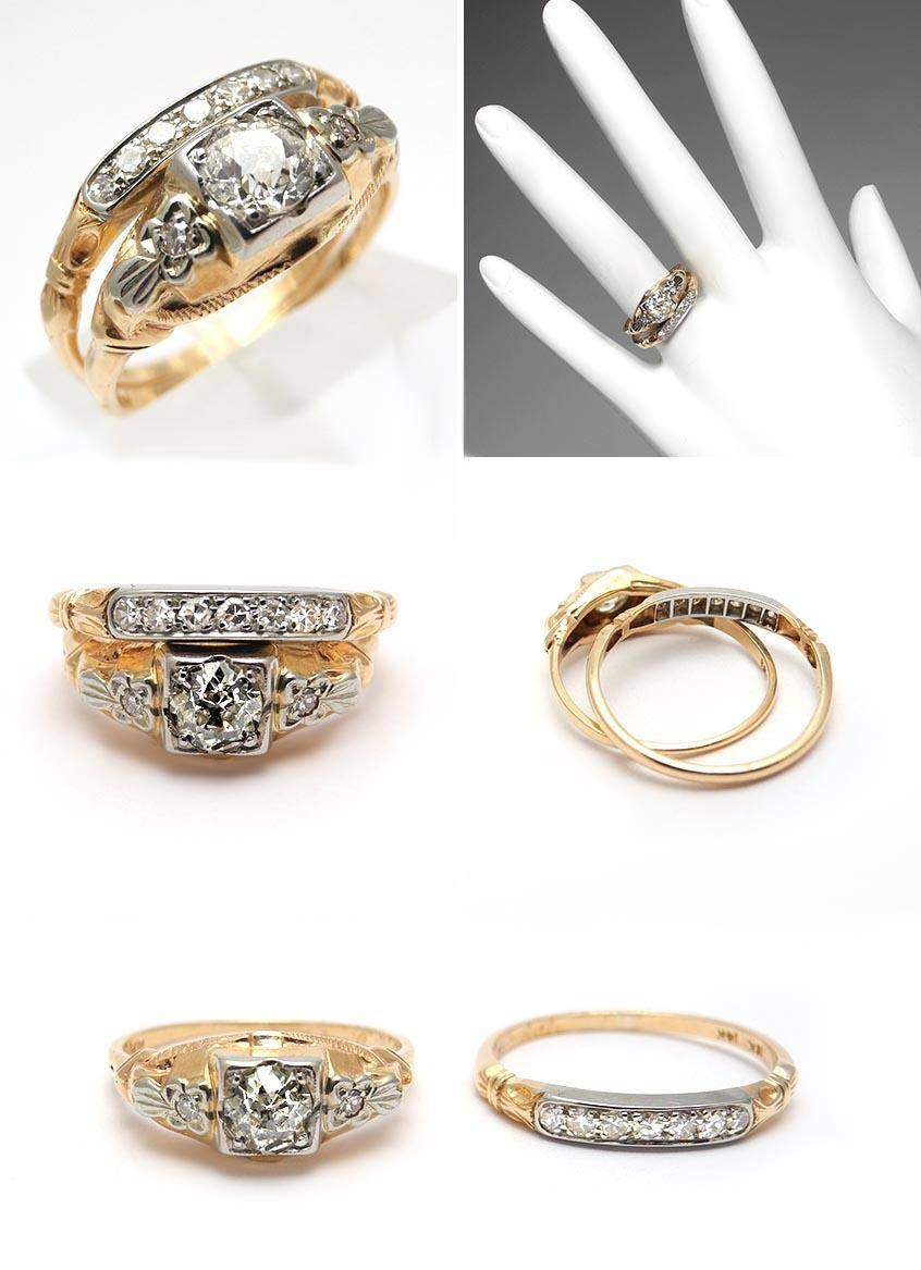 Antique Yellow Gold Wedding Ring Sets – The Wedding Specialiststhe In Classic Gold Wedding Rings (Gallery 5 of 15)