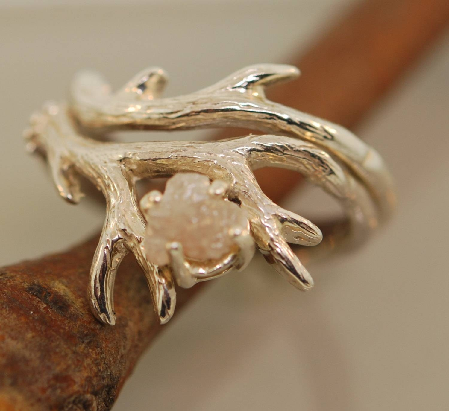 Antler Ring 2 Set With Rough Diamondrough Diamond Regarding Antler Engagement Rings (View 1 of 15)