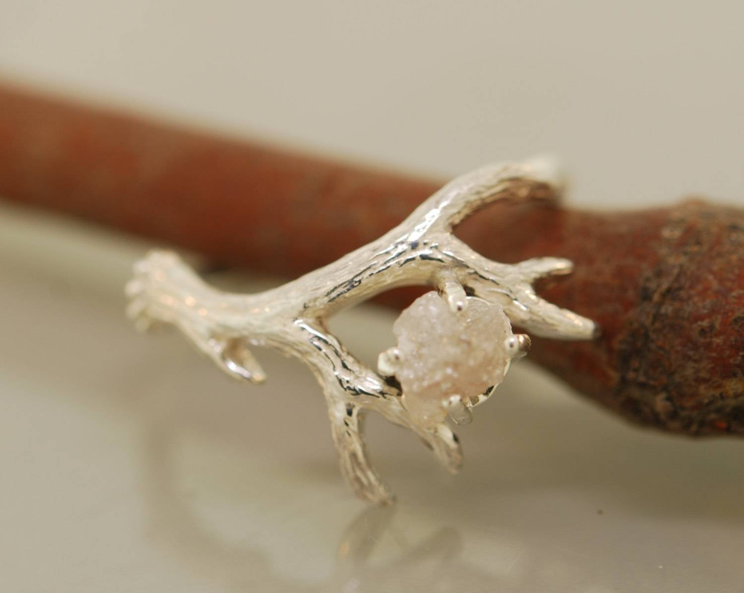 Antler Ring 2 With Rough Diamondrough Diamond With Regard To Antler Engagement Rings (View 2 of 15)