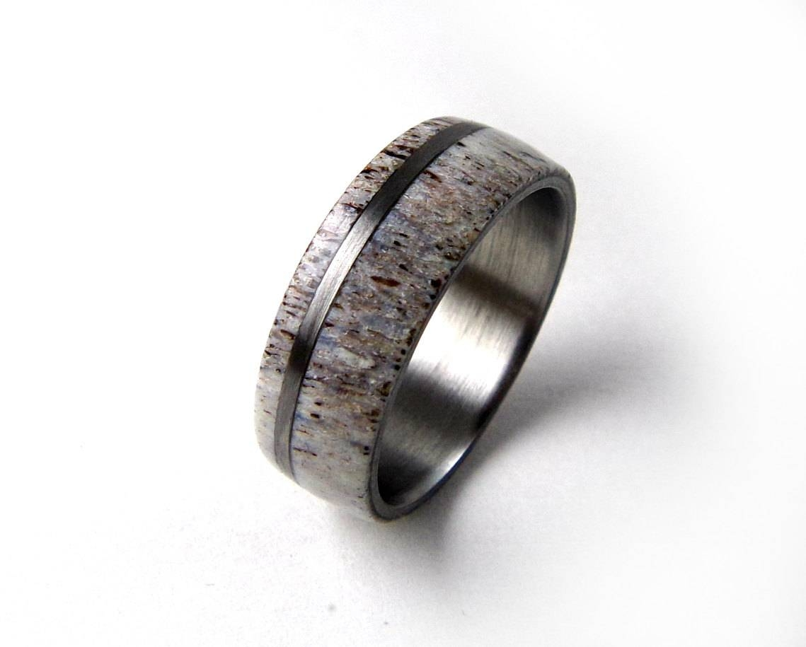 Antler Ring Deer Antler Ring Elk Antler Ring Titanium Throughout Mens Wedding Bands With Deer Antlers (View 1 of 15)