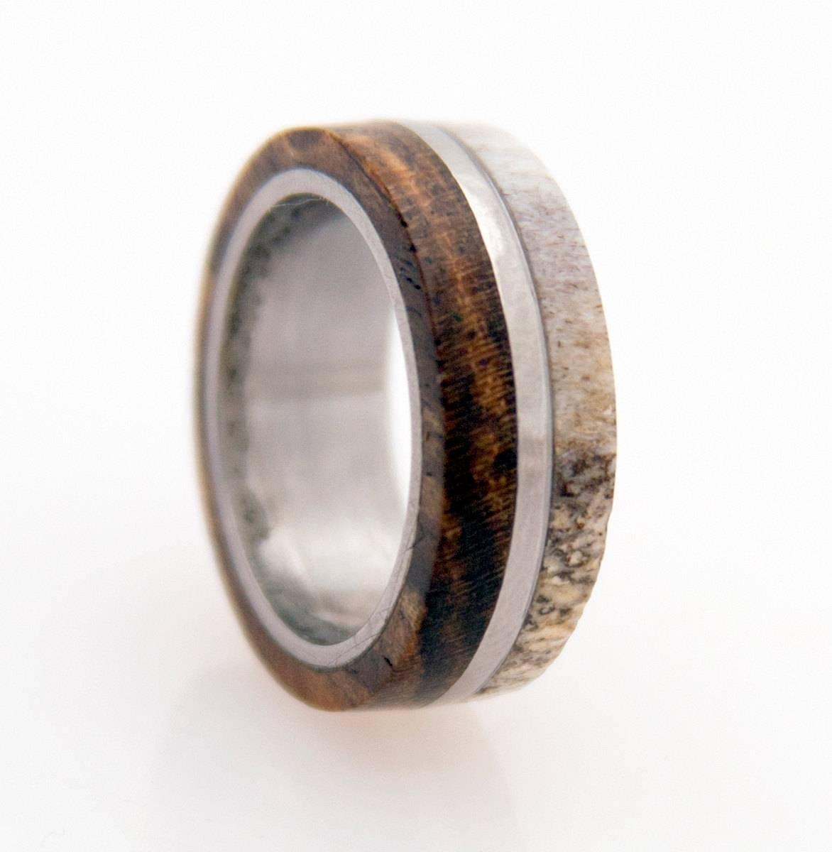 Antler Ring Titanium Ring With Wood Bocote Deer Antler Band In Antler Wedding Bands (View 2 of 15)