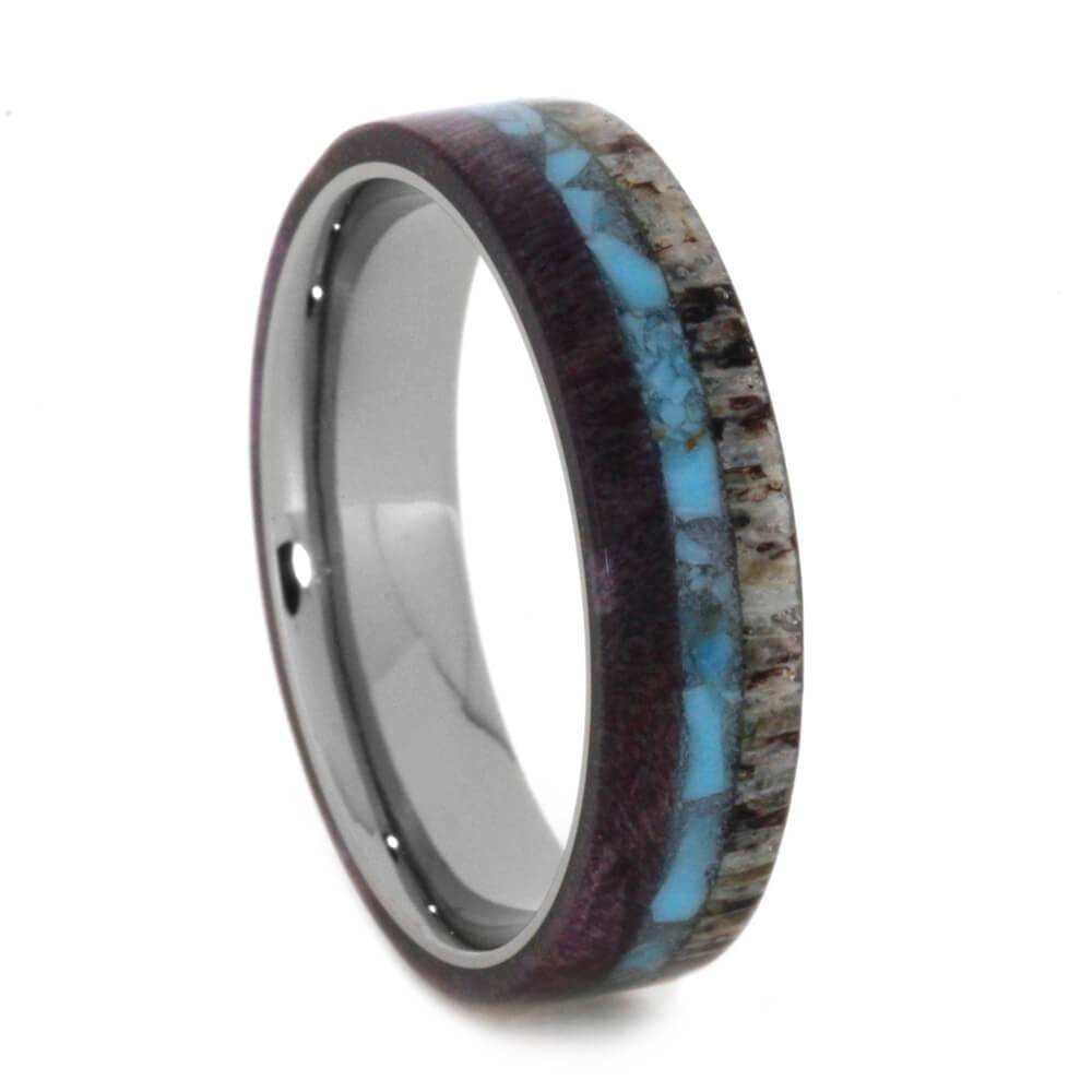Antler Wedding Band With Crushed Turquoise And Wood With Antler Wedding Bands (View 11 of 15)