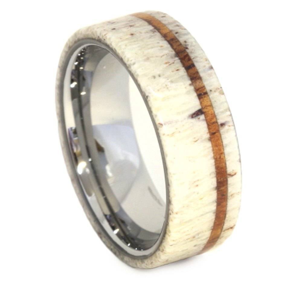 antler wedding ring with oak pinstripe and titanium sleeve with deer antler wedding bands view - Deer Antler Wedding Rings