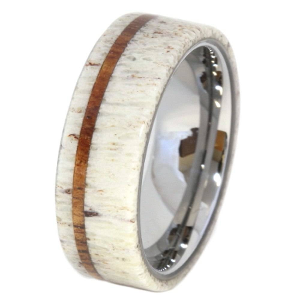 Antler Wedding Ring With Oak Pinstripe And Titanium Sleeve With Regard To Antler Wedding Bands (View 4 of 15)