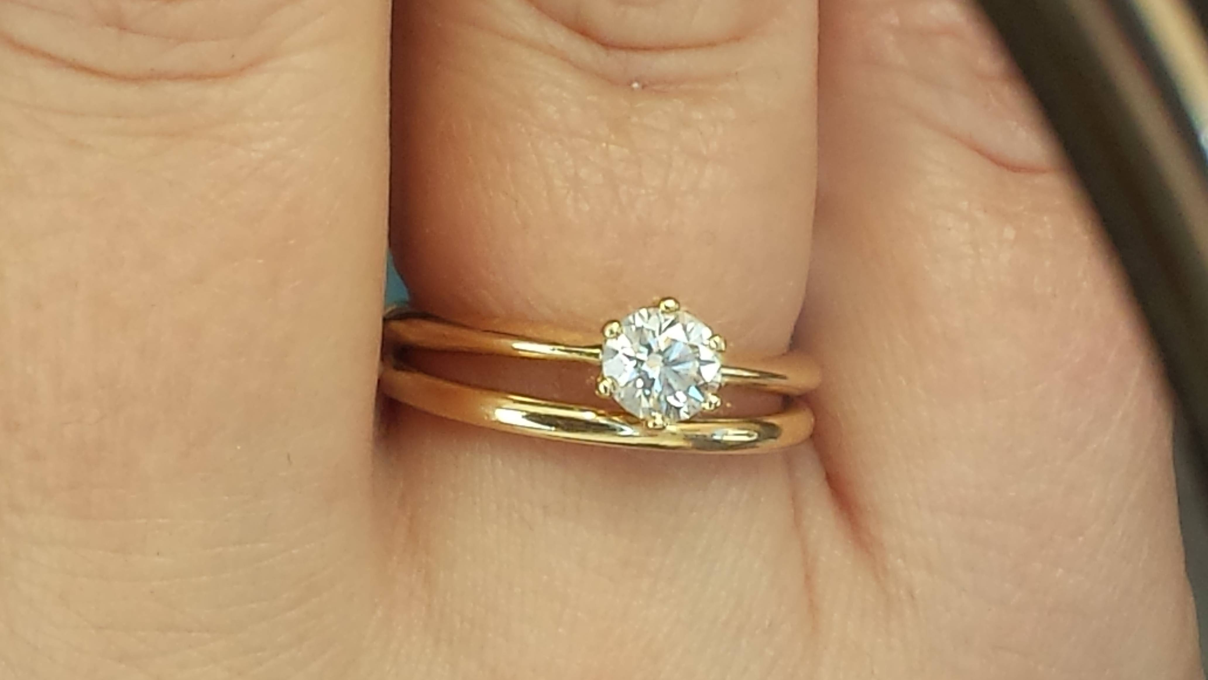 Anyone Wear A Traditional Gold Wedding Band? – Weddingbee Intended For 24K Gold Wedding Rings (View 12 of 15)