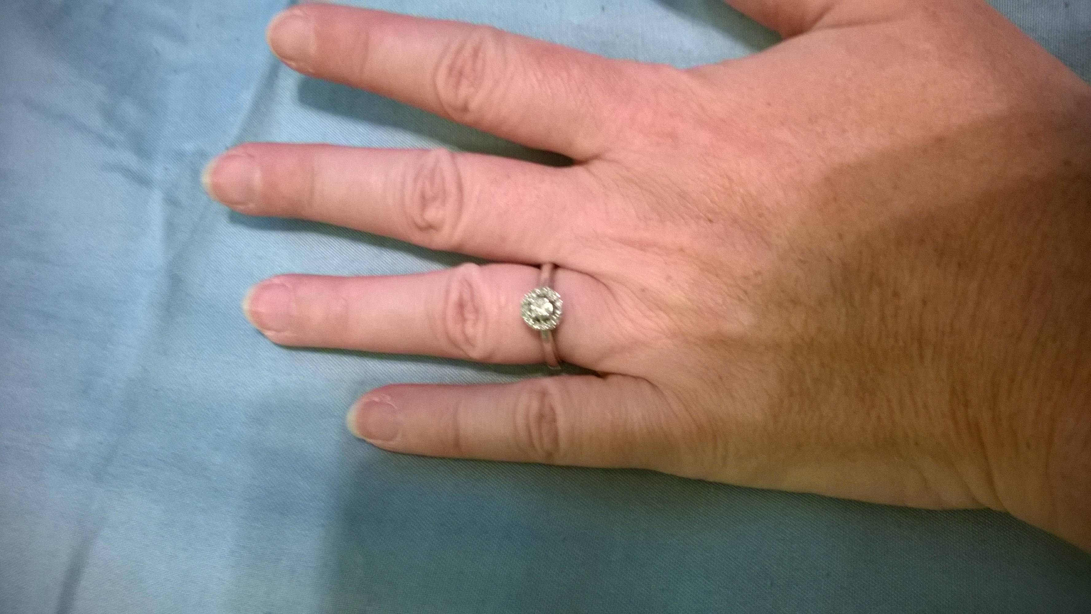 Anyone With Small Stone Engagement Rings? – Weddingbee With Wedding Rings For Small Fingers (View 1 of 15)