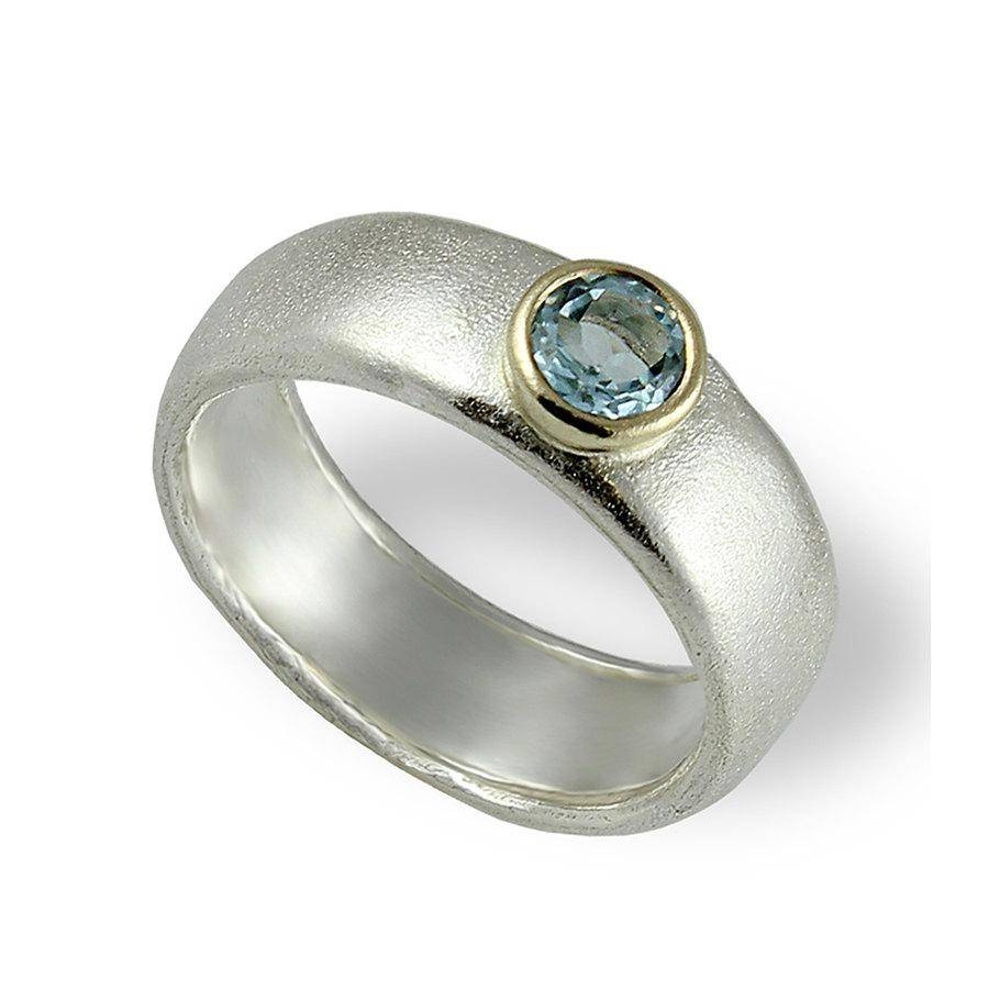 Aquamarine Engagement Band , Silver And Gold Wedding Band With Wide Wedding Bands (View 3 of 15)