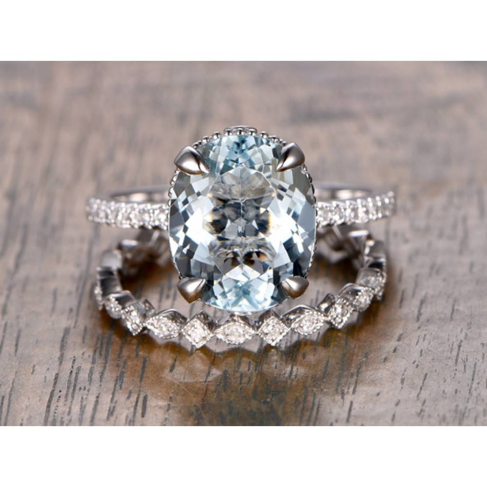 Aquamarine Engagement Rings Oval Cut White Gold Wedding Set With Regard To Oval Wedding Rings Sets (View 4 of 15)