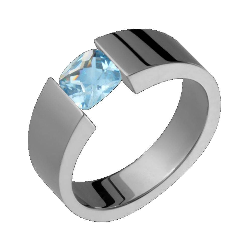 Aquamarine Tension Set Titanium Ring 6X4Mm Wide Wedding Band For Wide Wedding Bands For Her (View 3 of 15)