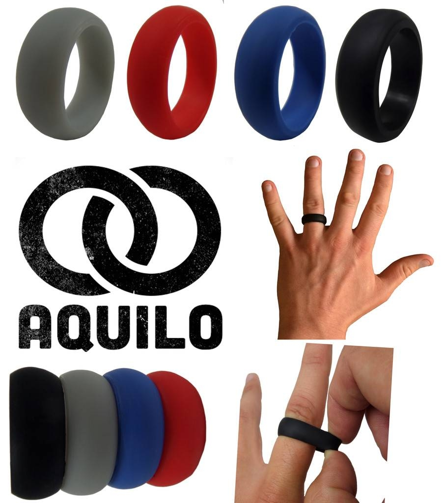 Aquilo Silicone Wedding Ring Band Rubber Ring Crossfit, Best Throughout Breakaway Wedding Bands (View 2 of 15)