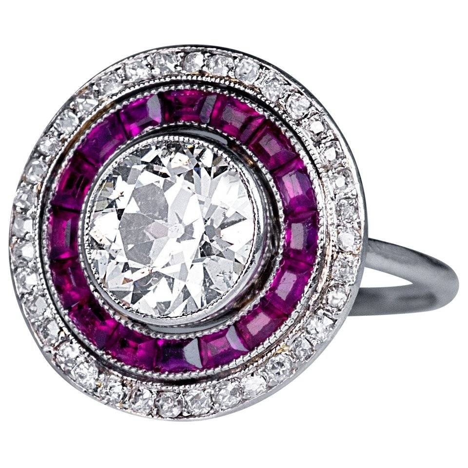 Art Deco 2 Carat Diamond Ruby Engagement Ring For Sale At 1Stdibs Throughout Diamond And Ruby Engagement Rings (Gallery 10 of 15)